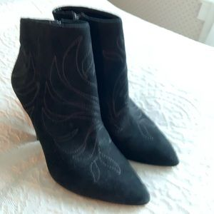 Aldo Suede Black Embroidered Heeled Booties